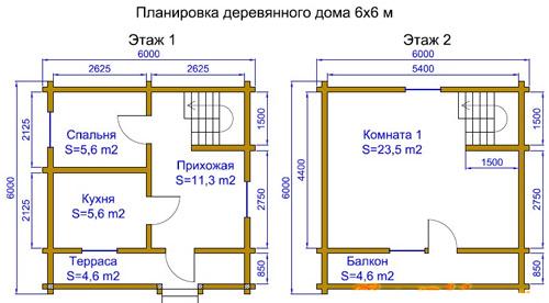 планировка коттеджа 6x6