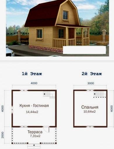 дом с террасой 4x6