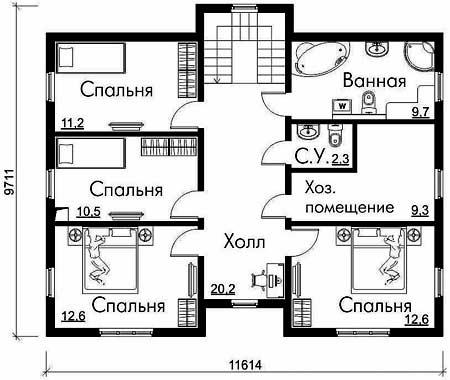 план дома 9х11