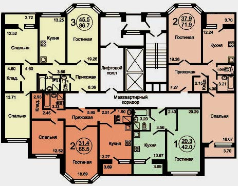планировка этажа здания