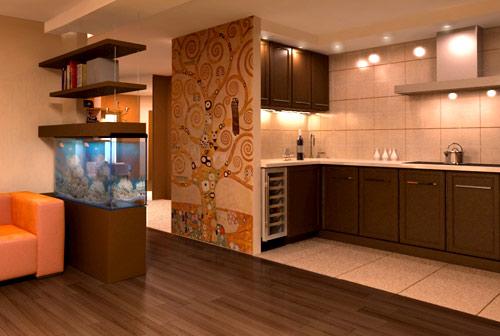 обустройство кухни и гостиной