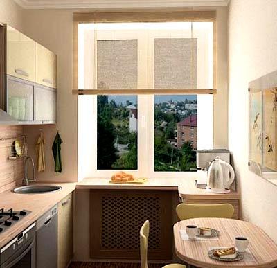 окна в кухне сталинке