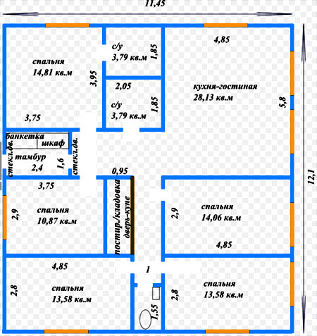 план дома 11х12