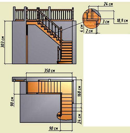 чертеж ступеней лестницы