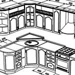 Схемы и чертежи кухни с учетом размеров