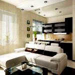 Планировка комнаты-студии с кухней