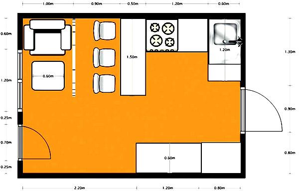 план кухня студия
