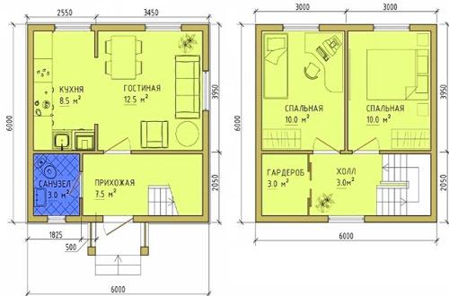 дом 6х6 с мансардой