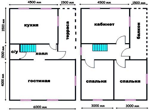 план дома 6х9