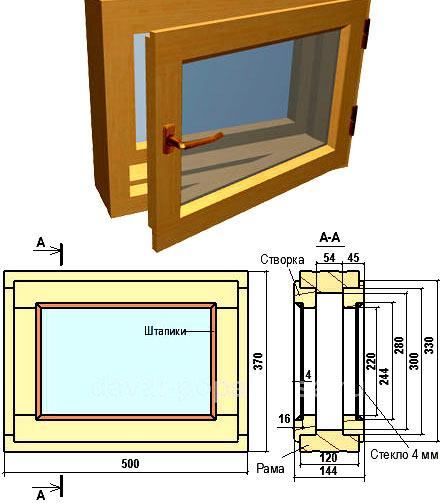 окно для бани