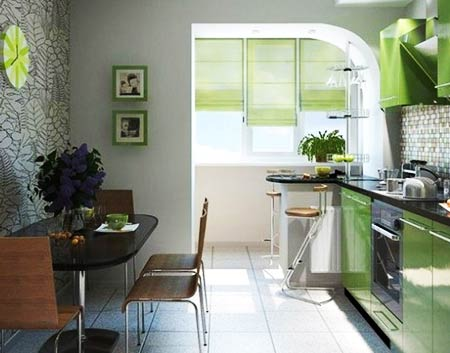 интерьер кухня балкон