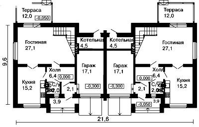 чертеж дома на 2 семьи