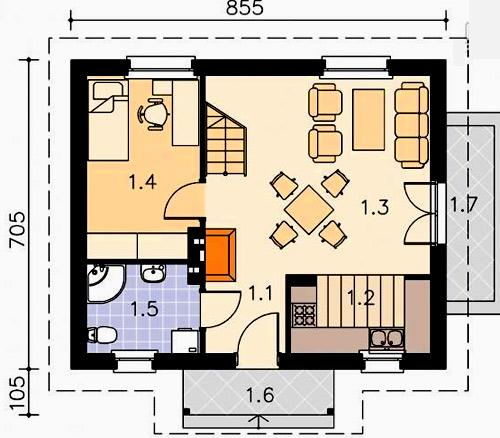 план дом камин
