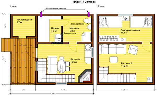 план дом мансарда веранда