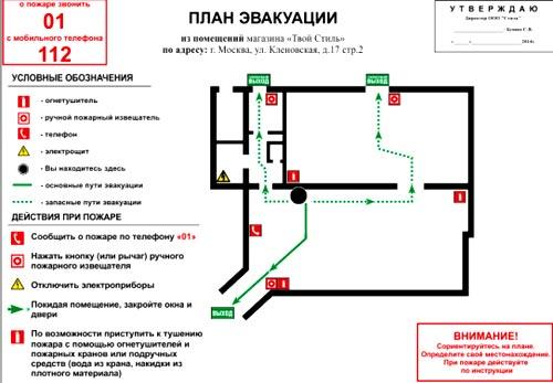 чертеж план эвакуации