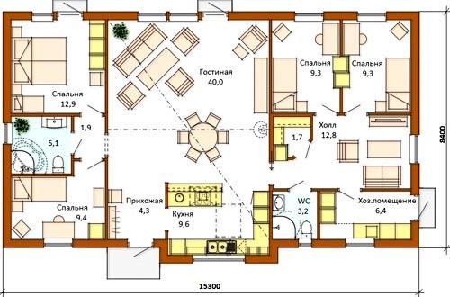 план дом 4 спальни