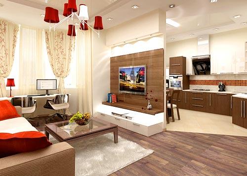 зонирование кухня гостиная