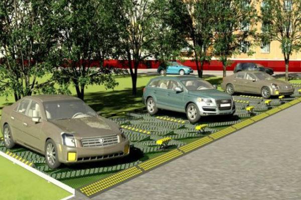 парковка с паллетами