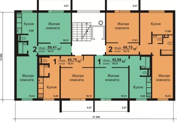 4 квартиры на этаже