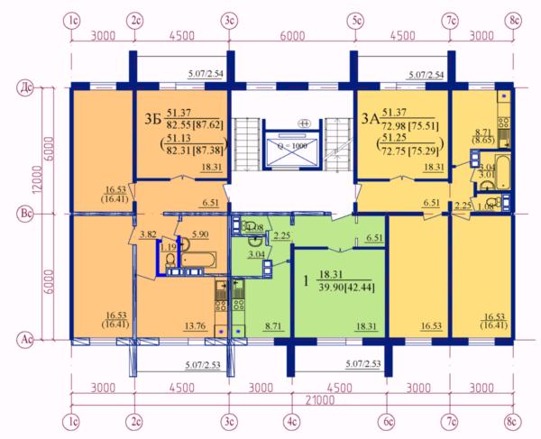 3 квартиры на этаже