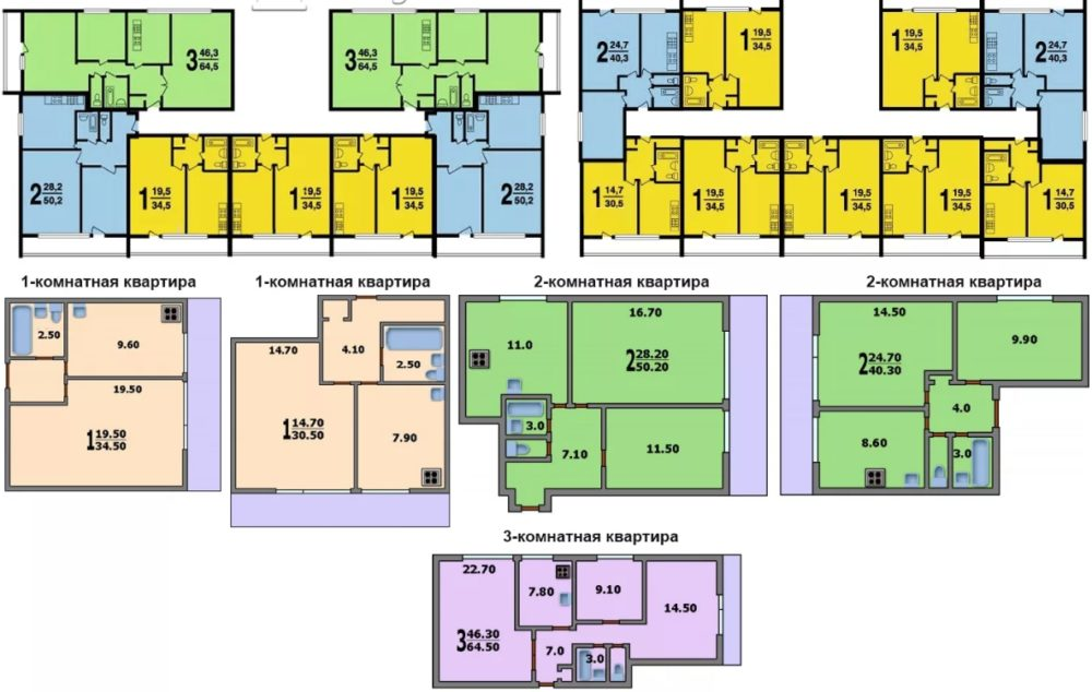 Размеры комнат в домах II 68