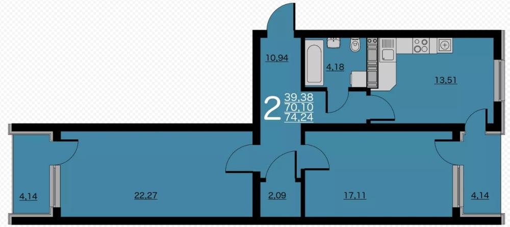 Двухкомнатная квартира с двумя балконами
