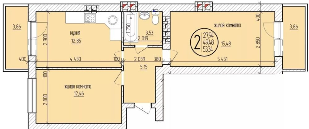 Квартира с двумя балконами