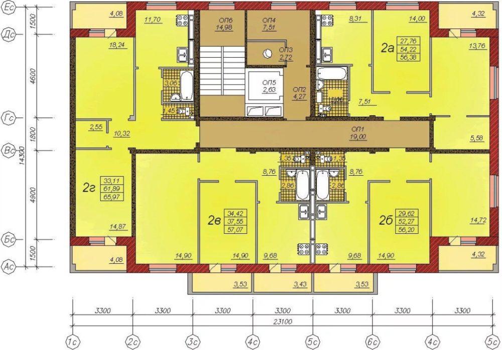 План типового этажа в 602-й серии