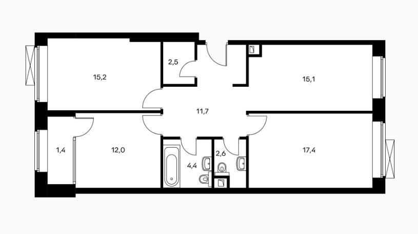 Распашонка с тремя комнатами