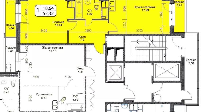 Однокомнатная квартира-распашонка