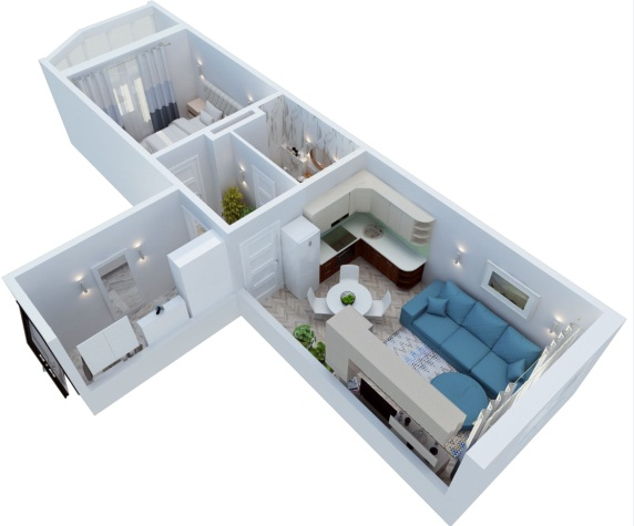 2-комнатная квартира-распашонка