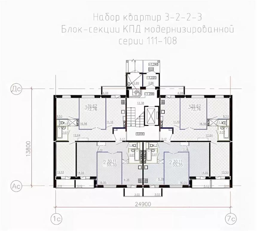 Планировка этажей в доме серии 111-108