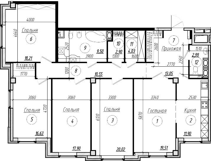 Планировка большой квартиры