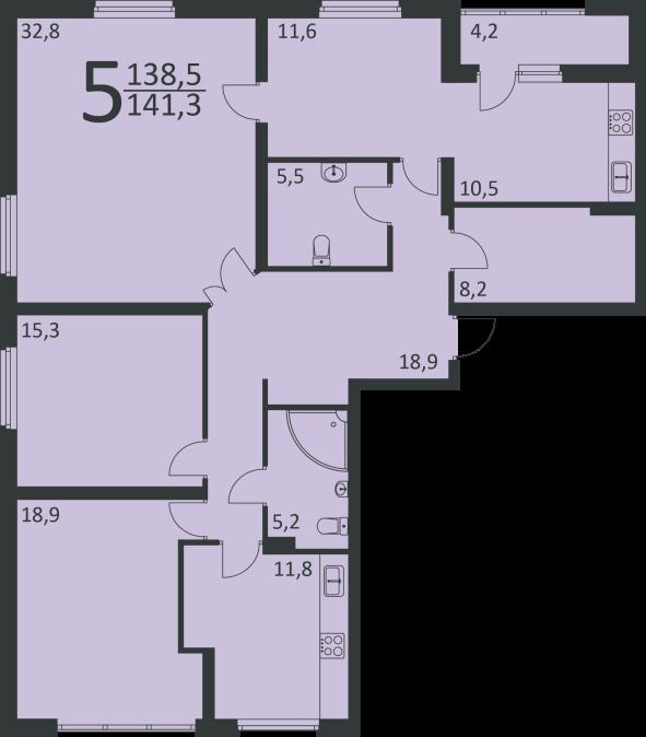 Перепланировка пятикомнатной квартиры