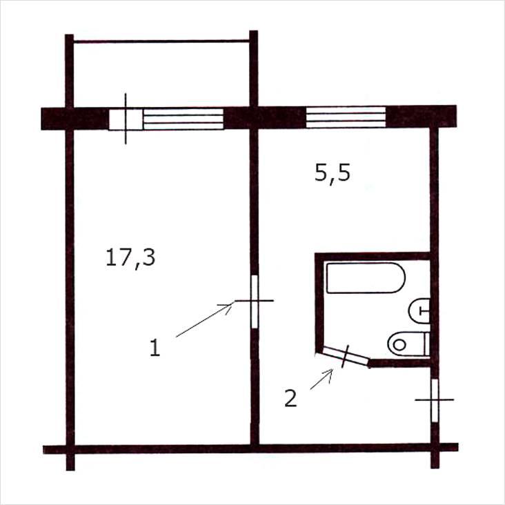 Расположение комнат в малосемейке