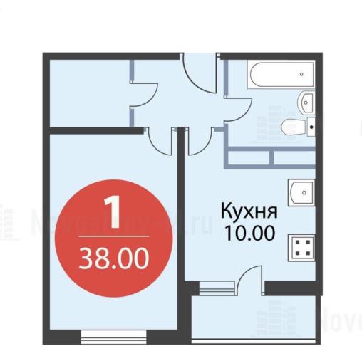 Однокомнатная квартира 38 кв. м