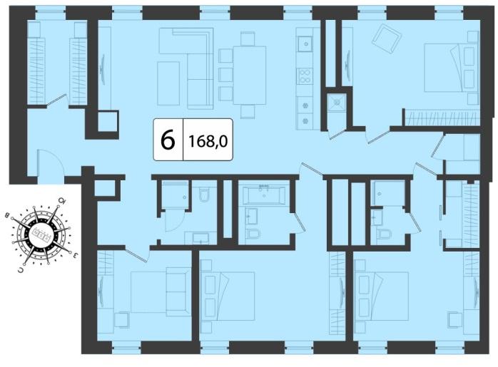 Расположение комнат в шестикомнатной квартире