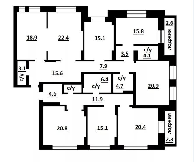 Квартира на 6 комнат