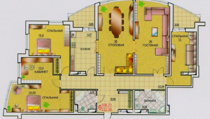План квартиры в элитном доме