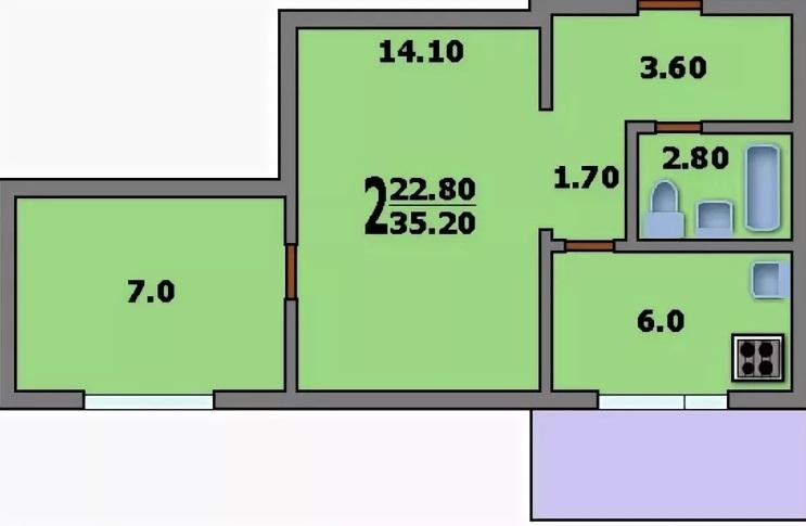 Двухкомнатная квартира