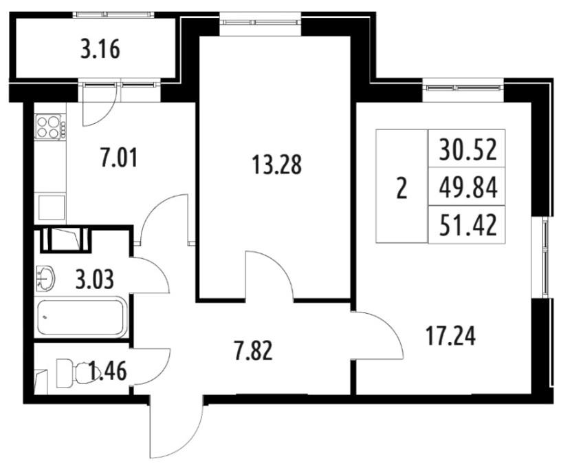 Удобная планировка двухкомнатной квартиры